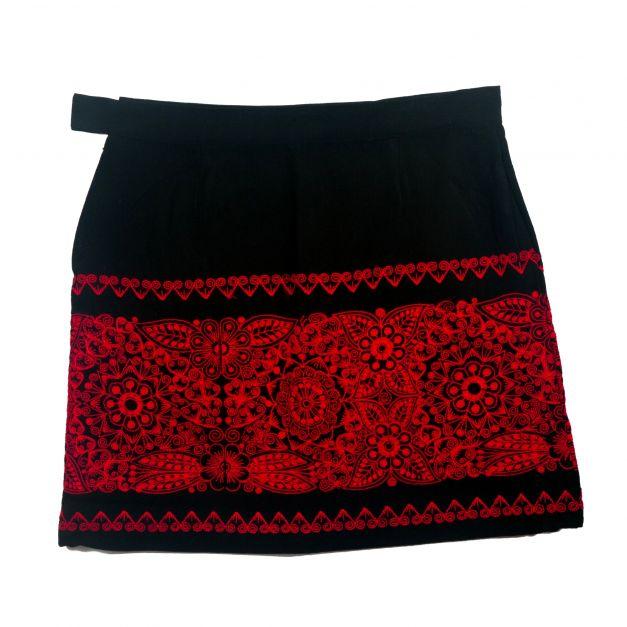 Falda floral roja