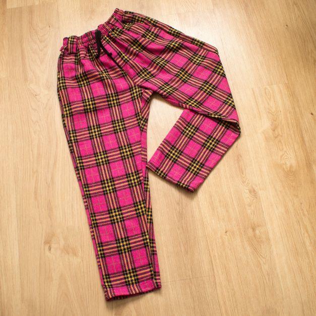Pantalon Tartán Unisex Lanilla Rosa