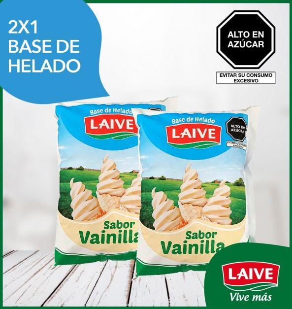 2x1 Base de helado Laive Sabor Vainilla Bolsa 800 ml