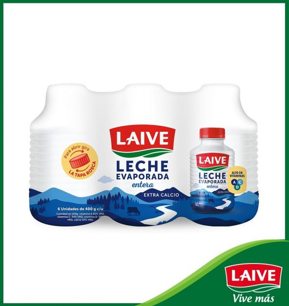 Leche Evaporada Entera Laive Botella 400 g Sixpack
