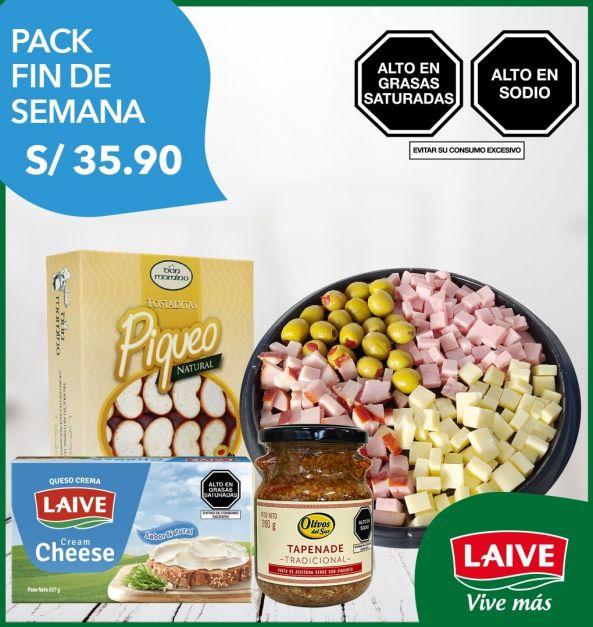 Pack Fin de Semana: Bandeja de Piqueo + Queso Crema + Tapenade + Tostaditas