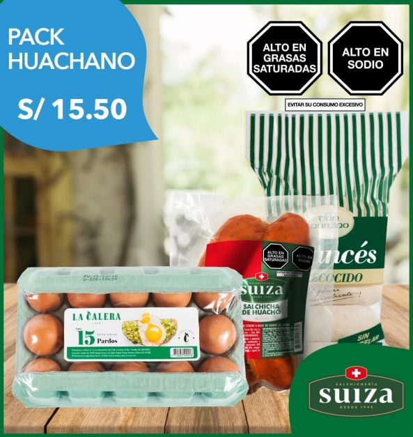 Pack Huachano: Salchicha Huacho + Huevos + Pan Francés