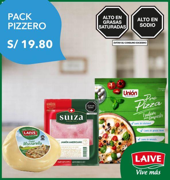 PACK PIZZERO: QUESO MOZZARELLA + JAMÓN AMERICANO + PRE PIZZA