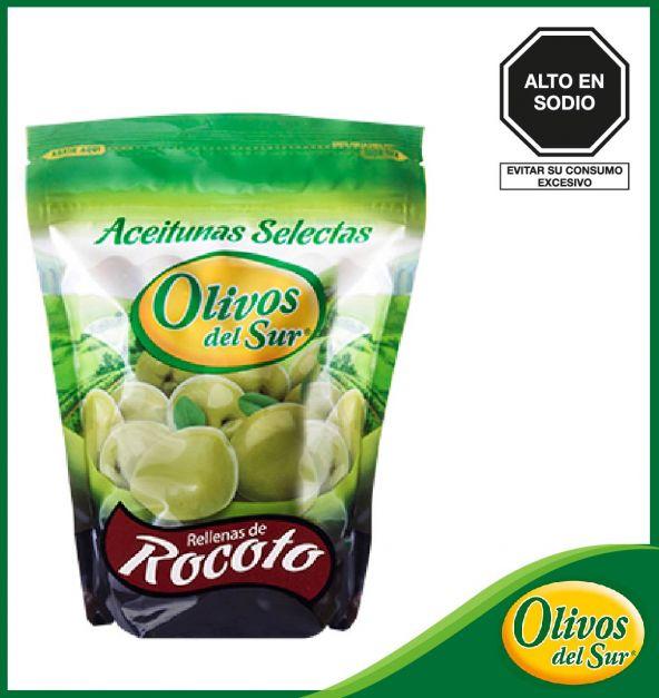 Aceitunas Verdes Rellenas De Rocoto Olivos Del Sur Bolsa 1/2 kg