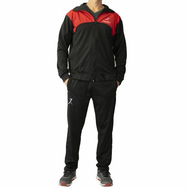 Buzo Completo Men Sport - Negro / Rojo