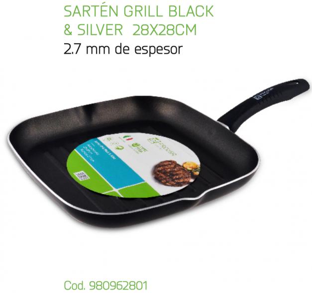 SARTEN GRILL BLACK & SILVER 28X28 CM.