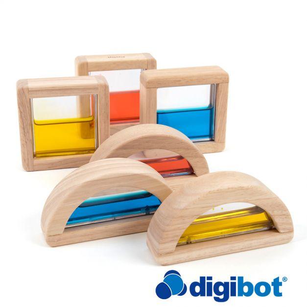 Bloques de madera con agua