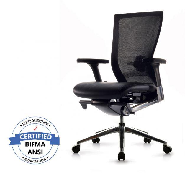 Silla T50 premier ergonómica, asiento en cuero y base de aluminio.