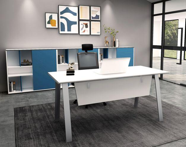 Escritorio modelo Focus color blanco de 1.5m de largo x 0.70m de profundidad. Con faldón. Diseño exclusivo.