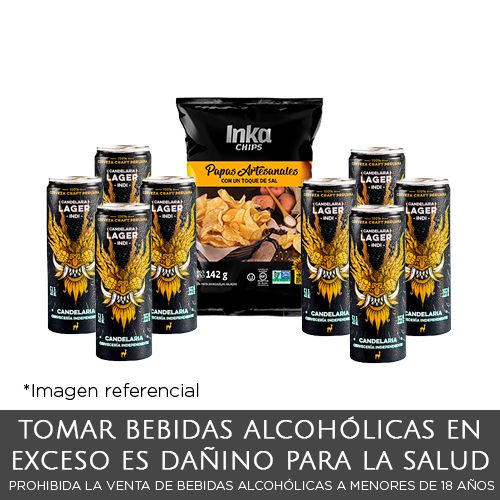 Pack 02 Candelaria Lager Indi + Inka Chips Papa Artesanal 142g