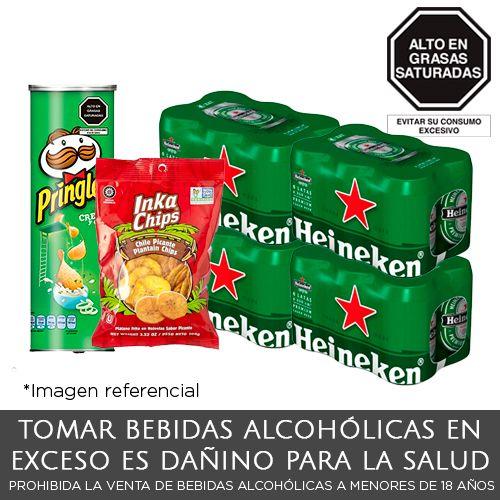 Pack Heineken 04 Six Packs Lata x 330ml + 01 Pringles CB + 01 Plátano Frito Picante
