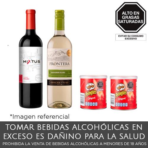 Pack Trivento Mixtus Shiraz Malbec + Frontera Sauvignon + 02 Pringles Original 37 g.