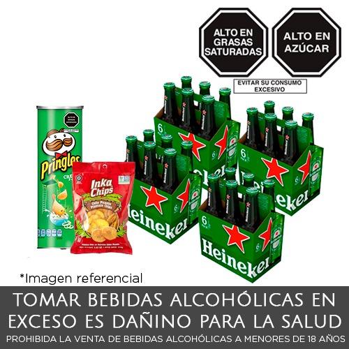 Pack Heineken 04 Six Packs Botella x 330ml + 01 Pringles CB + 01 Plátano Frito Picante