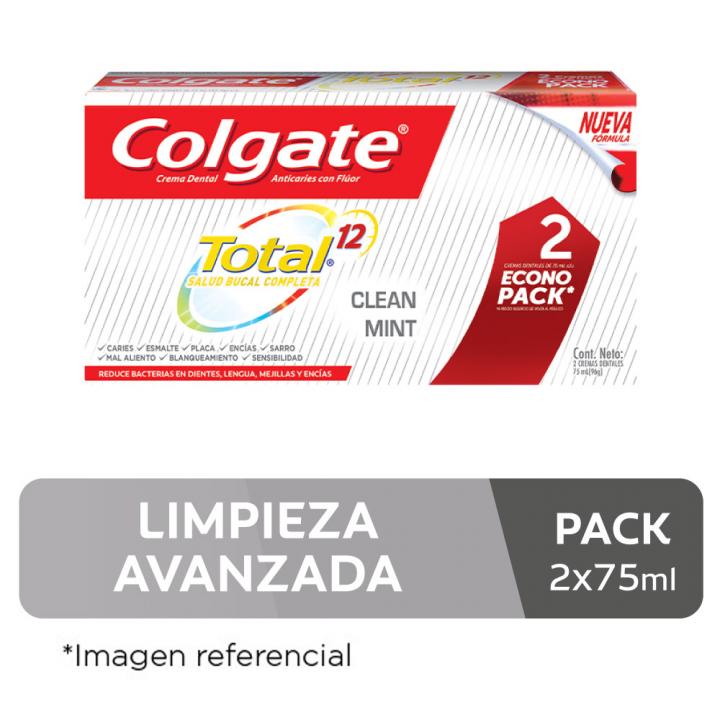 Pasta Dental Colgate Total Clean Mint Pack 2 unid. de 75ml