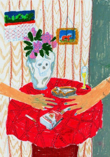 Ilustración Mesa roja y rosas