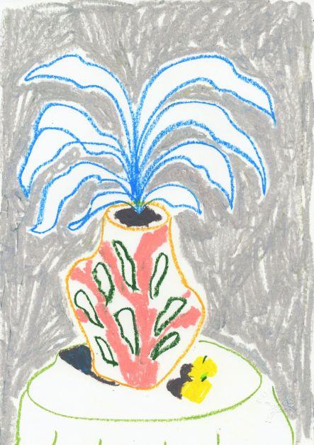 Ilustración Florero y fruta