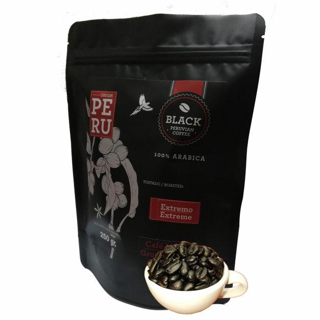 Bolsa de 250 gr. de café tostado extremo.