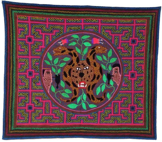 Tapiz jaguar y flores medicinales
