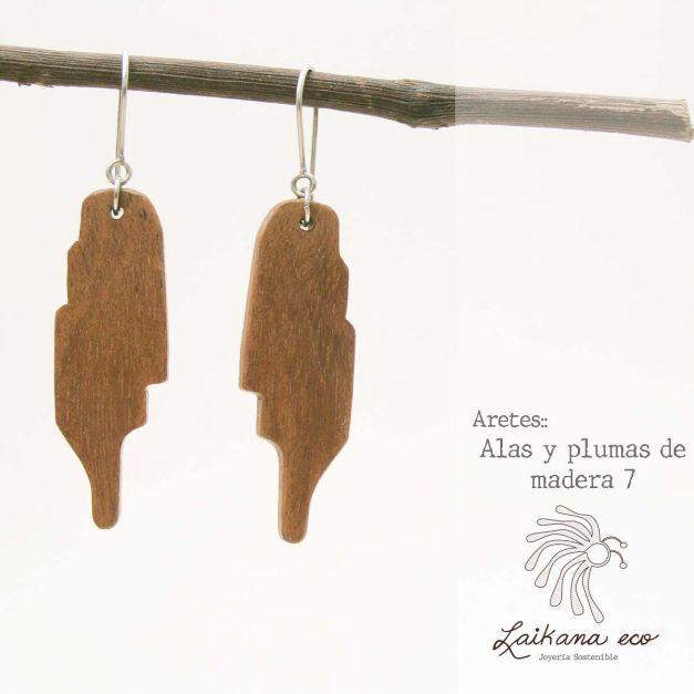 Aretes Alas y Plumas de madera PARTE 2