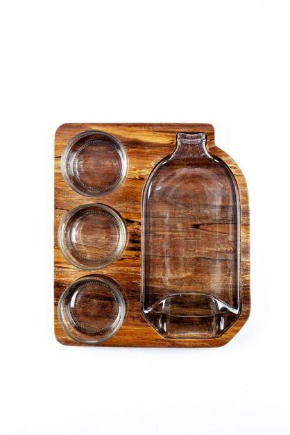Set de 3 bowls pequeños y una bandeja de botella