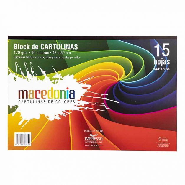 BLOCK MACEDONIA CARTULINA COLORES SUPER X 15 HJ 47*32 170 GRS