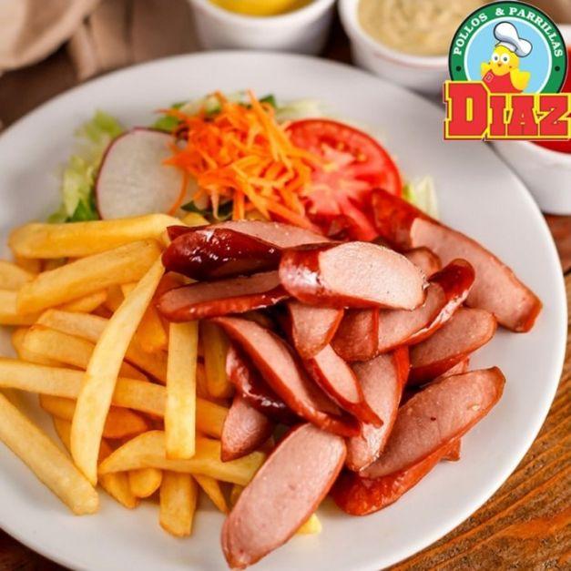 Salchipapa + Papas + Hot dog + Ensalada