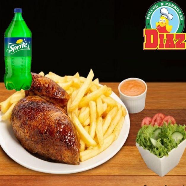 COMBO 2 - 1/2 de pollo + Papas + Ensalada +Crema + Sprite 2.25 Litros