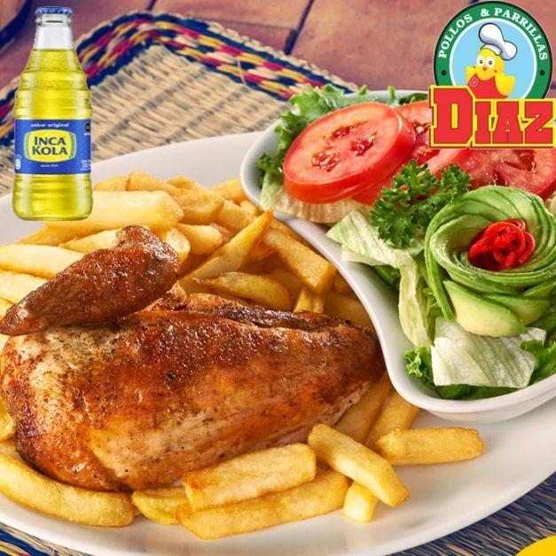 COMBO 1 - 1/4 de pollo + Papas + Ensalada +Crema + Inka cola Mediana